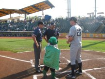 Scotty exchanging the lineup cards