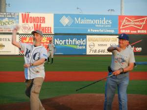 Rob & Maier Weiner throwing out the 1st pitch on 8/30/13
