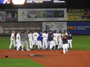 Cyclones Celebrate Darryl Knight's Game Winning Hit on 6/27/16 (c) Pat Sanchez