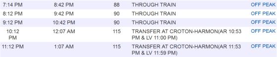 MNR Schedule TO GCT, Weekdays