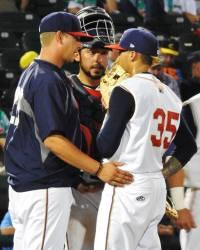 Erik Manoah with Pitching Coach Billy Bryk Jr. (c) Pat Sanchez