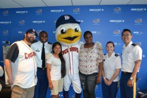 The StudentsFirst Rewards Winners with Sandy the Seagull and am Army ROTC Representative.